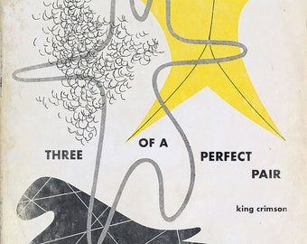 "King Crimson ""Three of a Perfect Pair"" midcentury book cover mashup"