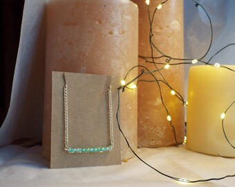 Dainty Green Glass Bar Necklace