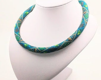 Blue Green Bead Crochet Rope Necklace