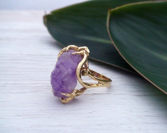 Raw Amethyst Ring Gifts For Boho Women Raw Chakra Crystals Raw Stone Rings