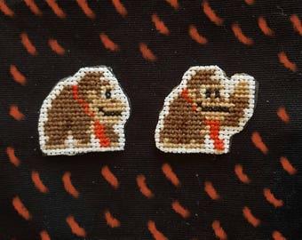 Donkey Kong cross stitch patches