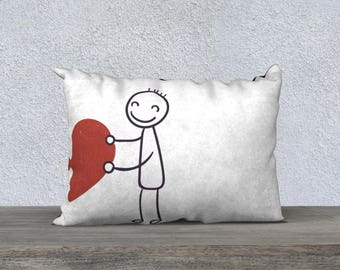 Pillow case, special Valentine's decoration, illustration, red, black, white, cushion, pillows, love, love