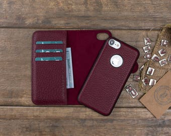 Detachable Leather Wallet Case for iPhone 8 / 8 Plus, Genuine Leather iPhone 8 Case, Personalize iPhone 8 Plus Card Holder Cover, Burgundy