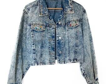 Embellished Studded Acid Wash 80s Denim Jacket M-L