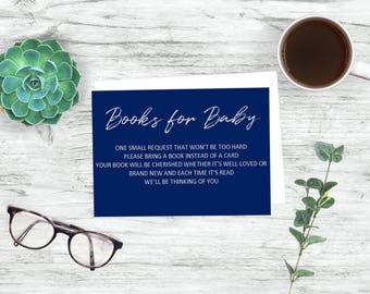 Book Request-Printable Book Request-Books for Baby-Book instead of card-Insert Card-Navy Book Request-Boy Book Request-Gray and Navy-Books