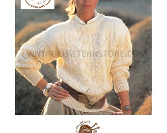 "Ladies, 1990s, round neck, drop shoulder, eyelet lace, dolman mohair sweater - 32"" - 38"" chest - Vintage PDF Knitting Pattern 685"