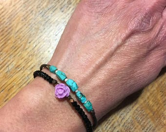 Memory wire black spinel and turquoise stacking bracelet duo