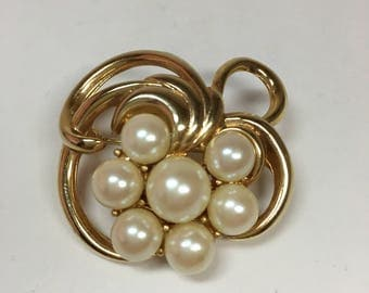 Vintage Richelieu Faux Pearl Brooch on Gold Tone