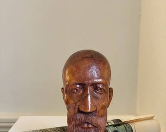 Hand Carved Wooden Sculpture of Old Man