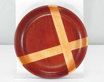 Woodturned Padauk Bowl with Maple Cross