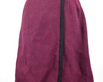 60s Maroon Wrap Skirt, Women's Size 10, Flamstead of Vermont Knit Tweed Skirt, Buckle Waist Wool Blend