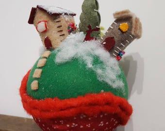 Christmas decoration, handmade felt xmas balls