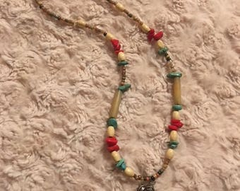 Boho Beaded Claw necklace