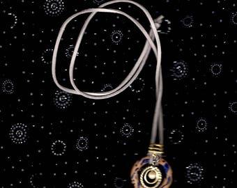 "Center Gold--Blue Wave 24"" Suede Necklace"