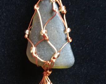 Macrame copper wire wrap seaglass pendant