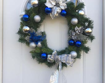 Christmas silver and blue wreath