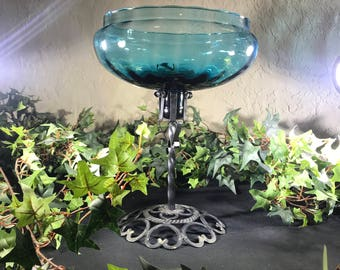 Vintage Empoli Blown Glass Centerpiece with Iron Stand