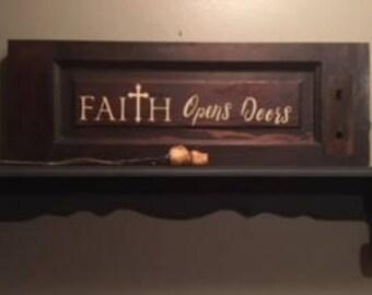 Faith Opens Doors reclaimed wood and vinyl sign