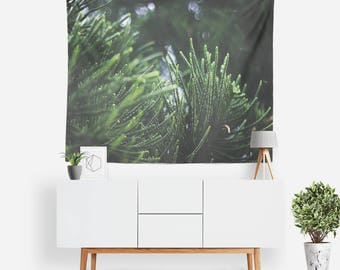 Spruce Tapestry | Nature Tapestry | Botanical Wall Decor | Boho Tapestries | Plants | Photography | Outdoors | Pine Trees | Green Decor