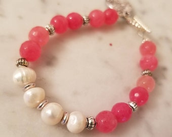 Corral and Fresh Water Pearl Bracelet with silver charm
