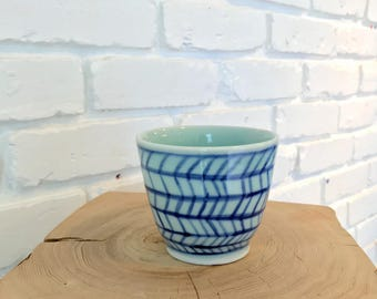 Blue Coffee Cup / Planter / Stoneware Mug / Handmade Cup / Wheel Thrown Cup / Bluebird Raku