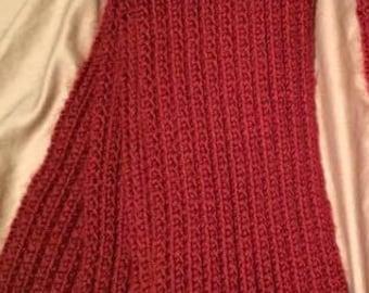 Dark Red Knit Scarf