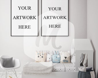 Kids room White Frame Mockup, Styled Stock Photograpy, Scandinavian Style Interior, PSD Mockup, Digital Item, Modern Design