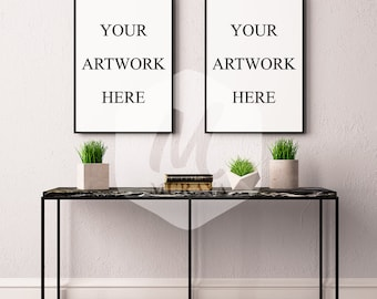 2 Panel Frame Mockup, Thin Black Frame, Styled Stock Photograpy, Scandinavian Style Interior, PSD Mockup, Modern Design