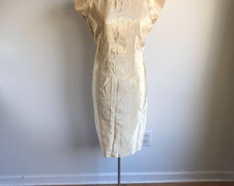 Vintage Gold Shimmer Plus Size 60's Shift Dress, Handmade