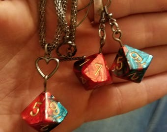 Red and Teal D10 Dice Jewelry