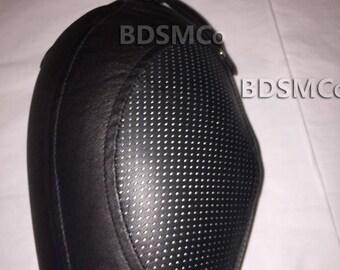 Real LEATHER Perforated STRETCHABLE Net Bondage Gimp Mask Slave Hood JEL1