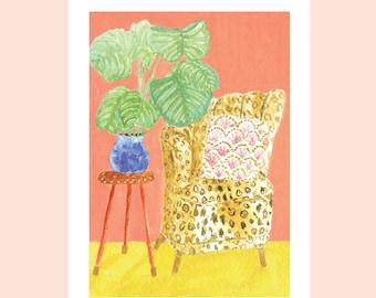 Vintage interior print A5 - peachy & leopard exotic corner