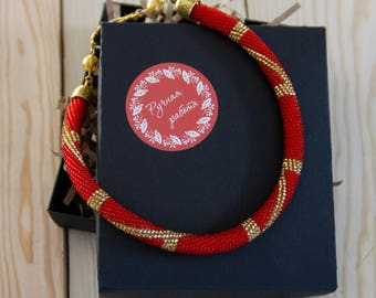 Crochet beaded necklace beaded jewelry red necklace bead crochet beaded chocker