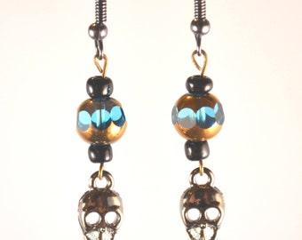 Punk Skull Earrings - Goth Earrings - Halloween - Rock Concert - Badass Earrings