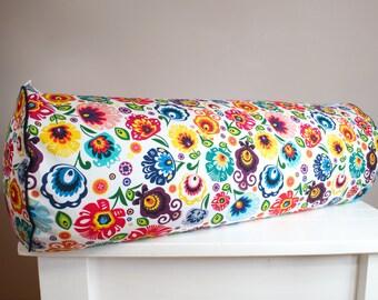 Big buckwheat hull bolster pillow, yoga bolster, roll pillow, buckwheat pillow, łowickie flowers 26'' x 9''