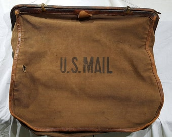 Vintage - Antique US MAIL Leather and Canvas City Carrier Bag - High Quality Historical Post Office Artifact - Rare Museum Quality Piece USA