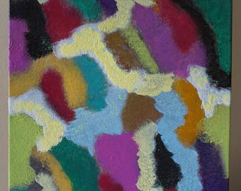 Multicolored Abstract Acrylic Painting on Canvas