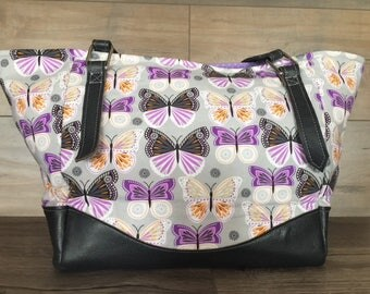 Custom Order- Charlotte City Tote, Purple Butterflies, Shoulder Bag, Faux Leather