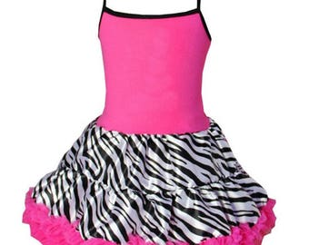 CLEARANCE BOUTIQUE Zebra Hot Pink and Black Chiffon Pettiskirt Dress size 1-2y