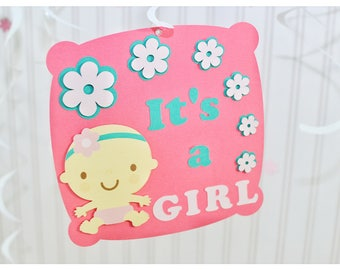 White, swirly, it is a girl, baby shower, wall hanging,  double-sided, baby shower decorations, handmade, spiral,baby girl, baby