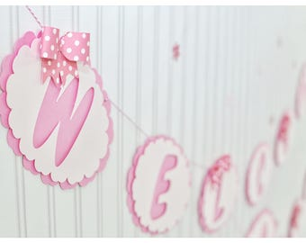 Baby girl bow banner, Pink, bow, welcome baby girl party, name banner, girl bow banner, baby girl, personalized, paper, pink bow, handmade