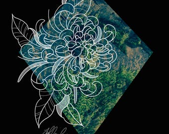 Chrysanthemum Macroscape Print