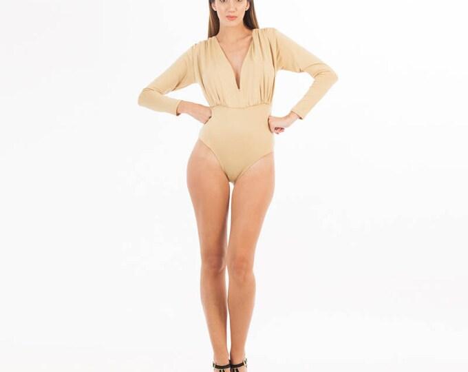 Beige Body Suit - V Neck Body - Nude Body - Long Sleeve Body - Bodysuit - Body - Nude - Beige Blouse - Beige Top