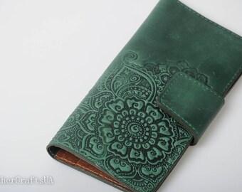 Long wallet for women, green leather wallet, soft leather wallet, wallet with coin pocket, full grain wallet, clutch wallet, womens wallet