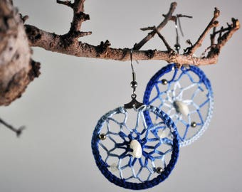 Dream Catcher-crocheted circle earrings with Beading