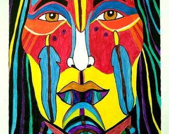 INDIAN CHIEF - 9in x 12in (22.86cm x 30.48cm) - Acrylic on Paper - Culture, Abstract Art Original Painting by LeslieA.