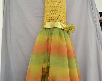 Rainbow Dress Toddler Girls Patchwork Smocked Twirl Sundress