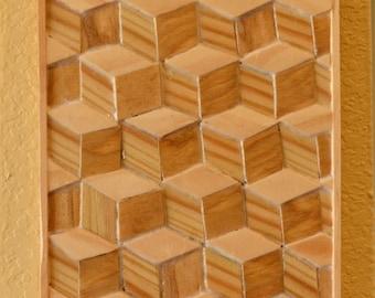isometric inlaid wood wall art