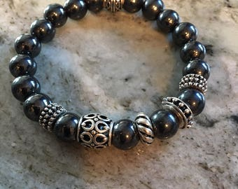 Dark Hematite Bracelet with Antique Silver Accent Beads