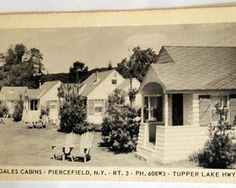 Vintage Postcard~~ Gales Cabins - Piercefield, N.Y. Rt.3 Tupper Lake Hwy.